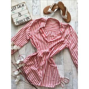 Zara Red & White Striped Lace-Up Blouse